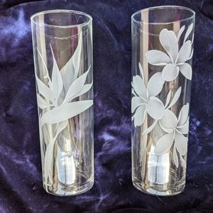 Etched Hawaiian Flowers Zombie Highball Glasses- 2